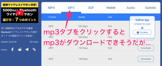 VidPawでYoutube動画の音声をmp3でダウンロードする画面